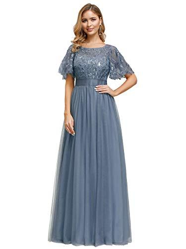 Ever-Pretty Damen Abendkleid A-Linie Spitze Kurze Ärmel Partykleid lang Staubige Marine 52