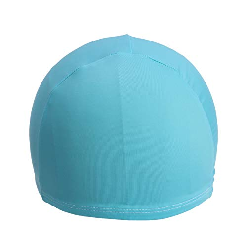 LIOOBO 2pcs Solid Color Polyester Swim Caps Comfortable Fit Swimming Caps Unisex Swimming Cap Shower Caps for Women Men Sky -Blue