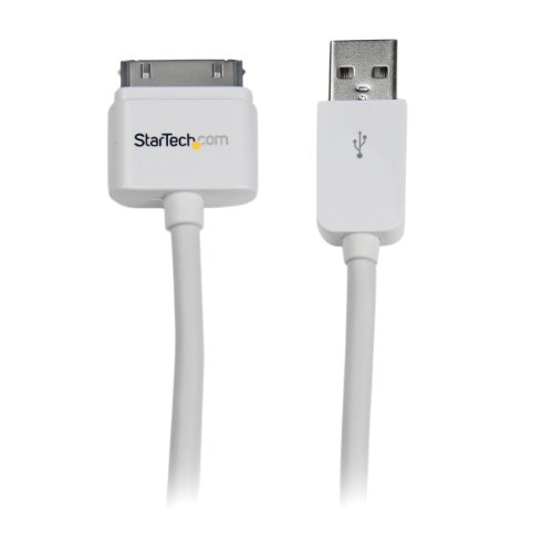 USB iPhone/iPad en iPod oplaadkabel - USB naar Apple 30 pin dock connector/stekker datakabel - wit recht. 3m wit