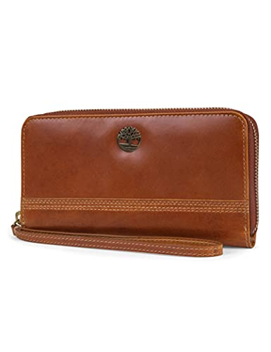 Timberland womens Leather RFID Zip Around Wallet Clutch With Wristlet Strap, Cognac (Buff Apache),One Size