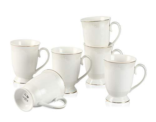 GuangYang Mokkatassen Set Gold Jahrgang Blumen- Kaffeetassen Weiß Porzellan 280 ml 6 Stück