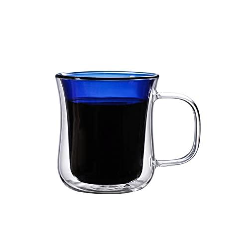 Mosako - Taza de cristal con doble pared para café y té (250 ml), color azul
