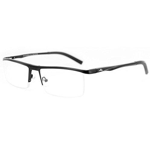 Alumni RX03 Optical-Quality Reading Glasses with Aluminum Frames for Men (Black +2.00)
