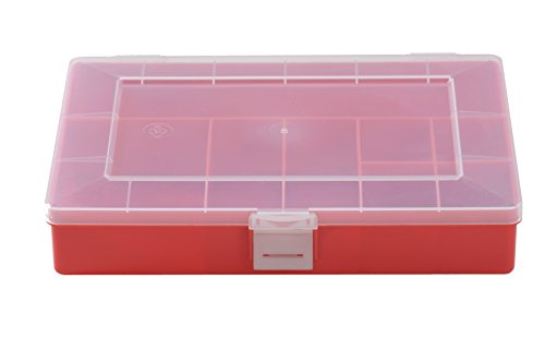 hünersdorff Sortimentskasten: stabile Sortierbox (PP) mit fester Fachaufteilung (8 Fächer), Sortierkasten-Maße: T170 x B250 x H46 mm, Made in Germany