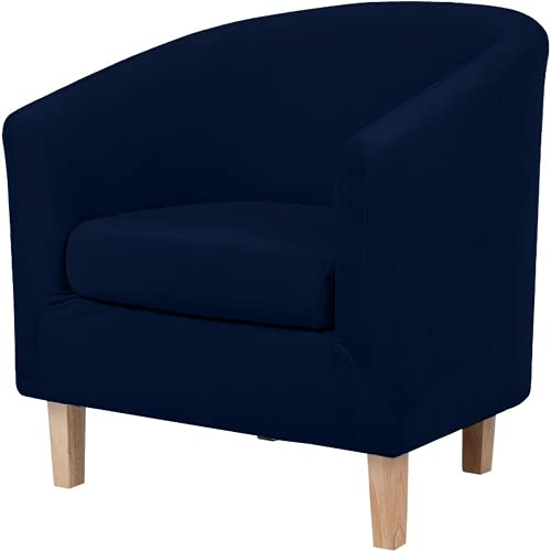HOMEJYMADE 2 pieces velvet Club Chair Slipcover,silver fox plush soft armchair Cover with cushion cover for Counter Armchair bar cafe (navy)
