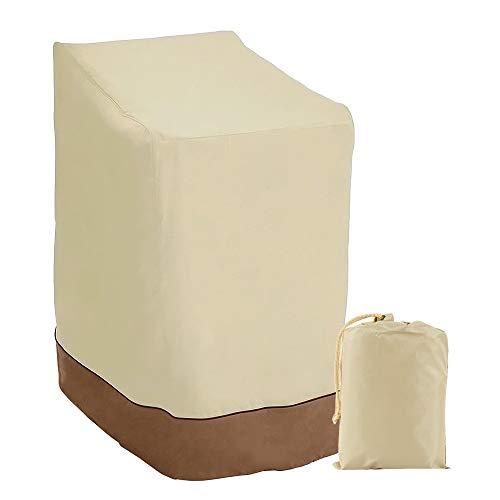 Funda de silla apilable impermeable y reclinable 420D Oxford, funda para sillas de jardín/balcón, protege la silla del viento, rayos UV, polvo, hojas, 114 x 85 x 65 cm, beige + marrón