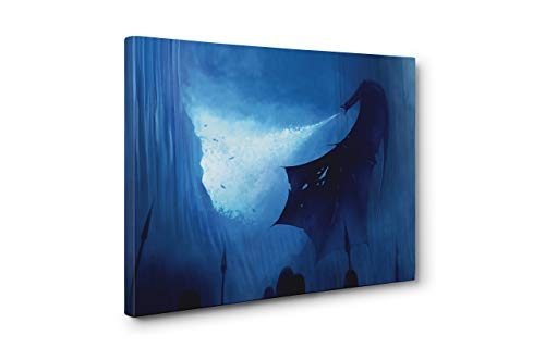 OneCanvas Game of Thrones White Walker ICE Dragon Wall Art Framed Canvas Print (Large 24x36in.)