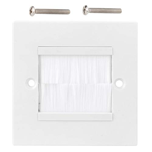 Wall Plate, Dust Prevention Brush Cable Wall Plate Port Insert Cover Outlet Mount Panel for Wires, Single Gang Cable Access Strap, Home Theater Systems Etc(White)