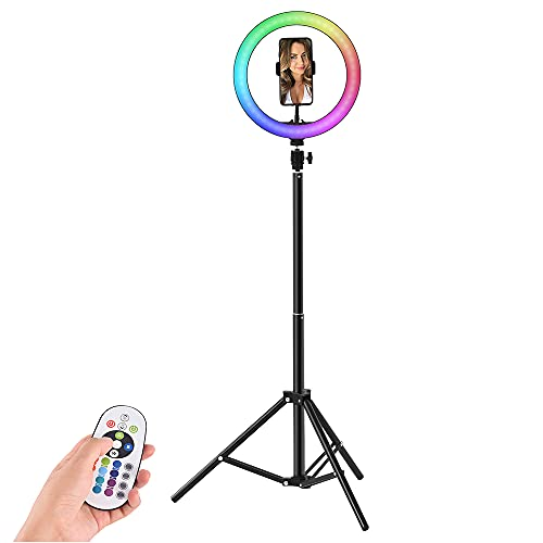 """LTPAG 10""""RGB Selfie Light, Anillo de luz LED RGB con Control Remoto Bluetooth 13 Modos de luz de Flash para Foto, Youtube, Maquillaje, fotografía, TIK Tok Ajustable con 3 Modos y 13 Niveles de Brillo"""