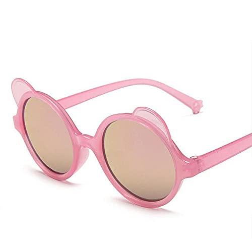 DLSM Redondo para niños Gafas de Sol Chicas Muchachos Dibujos Animados Gafas de Sol Adorables Niños Al Aire Libre Gafas-Plata Rosa