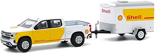 Greenlight 1:64 Hitch & Tow Series 20-2019 Silverado Shell Oil and Small Shell Oil Cargo Trailer 32200-D