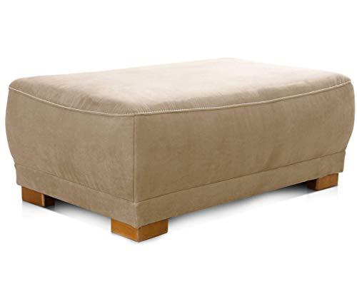 Cavadore Polsterhocker Modeo, Gepolsterter Sitzhocker fürs Wohnzimmer im Landhausstil, Holzfüße, 100 x 40 x 66, Mikrofaser-Bezug, hellbraun