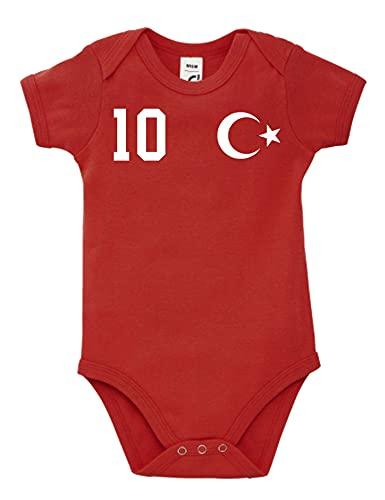 Kinder Baby Strampler Shirt Türkei Türkiye mit Wunschname + Nummer - Rot 3-6 Monate