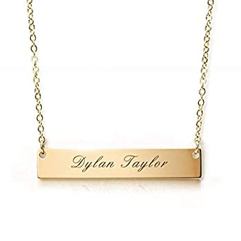 Caramel Sweet Life Personalized Stainless Steel Horizontal Bar Necklace Pendant 5 Colors with Chain  Golden