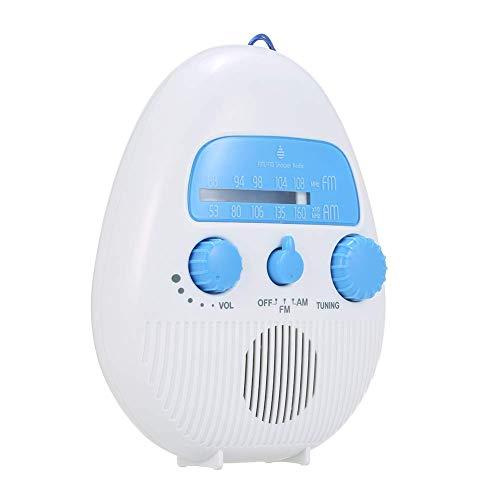 HONGY Fm Am Dusche Radio, Wasserdicht Mini Dusche Lautsprecher mit USB und Tf Karte Port & 96-bit High Definition, Tragbar Splash Beweis Radio für Bad - Weiß und Blau, Free Size