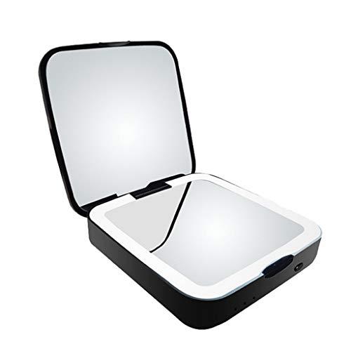 Plier Double face LED Miroir de maquillage Avec un trésor de charge Bagage à main portable Chargement USB 4,7 pouces