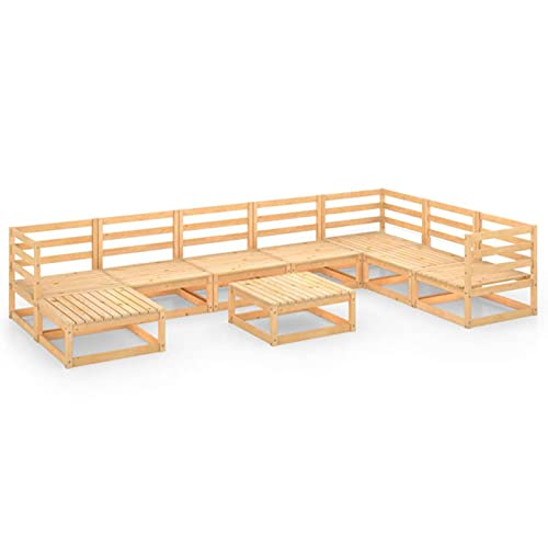 Susany Set de Muebles de Jardín de 9 Piezas Sofá de Palets de Terraza Sillon con Respaldo Conjunto de Asientos para Balcón Madera Maciza de Pino