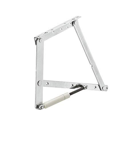 Gedotec Bettbeschlag Montage Klappenbeschlag montieren Klappen-Halter befestigen - H8990 | 30° | mit 2 Gasfedern 900 N für leichte Polsterung | Stahl verzinkt | 1 Set
