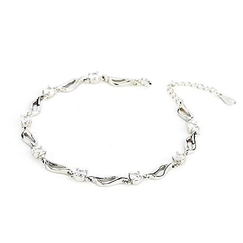 Pulsera de plata de ley para mujer, regalo de cumpleaños para mujer, pulsera de abalorios de plata de ley