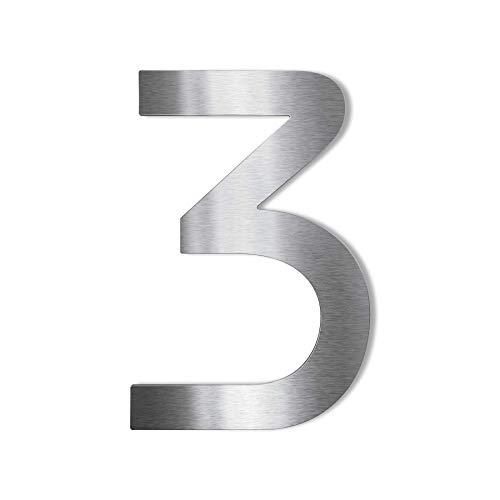 Metzler Edelstahl Hausnummer – modernes Design - wetterfest & pflegeleicht - Schrift Bauhaus - Steckdübel - Höhe 14 cm - Ziffer 3