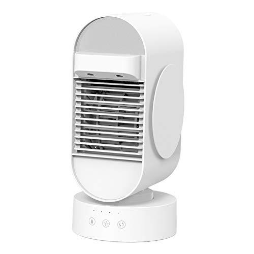 perfk Ventilador de Aire Acondicionado portátil, Enfriador de Aire, humidificador y purificador 3 en 1, Aire Acondicionado de Escritorio Recargable USB,