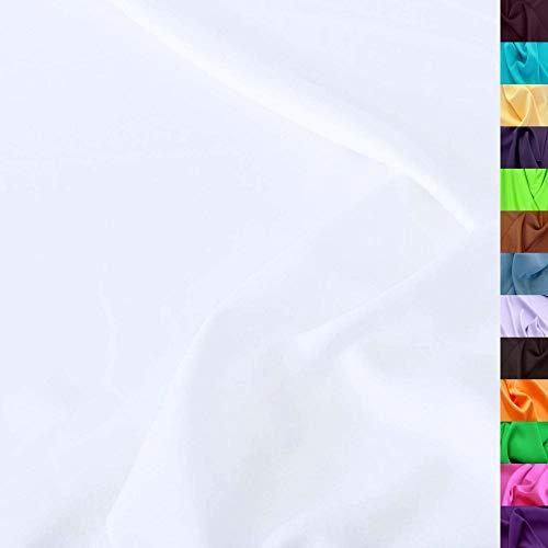 TOLKO Modestoff | Dekostoff universal Stoff zum Nähen Dekorieren | Blickdicht, knitterarm | 150cm breit Meterware (Weiß) uni Bekleidungsstoffe Dekostoffe Vorhangstoffe...