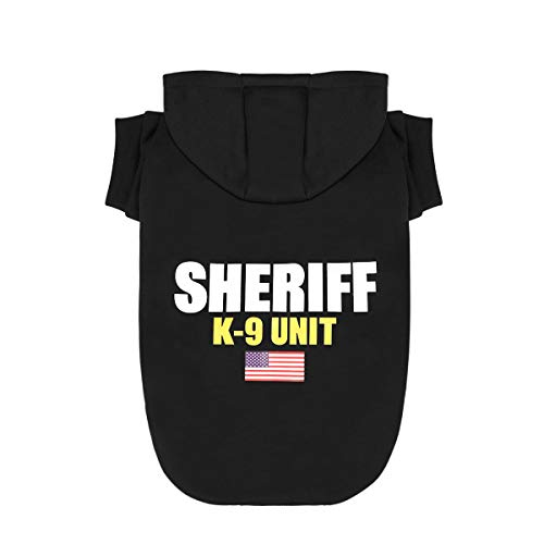 Dog Hoodies Sweatshirt Pet Clothes for Small Medium Large Dogs Cats Cotton Puppy Costumes with Sheriff K-9 Unit Patterns Printed, Large