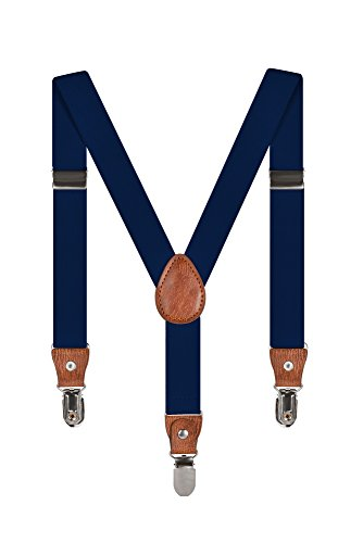Baby Kinder Hosenträger Einfarbig Gürtel Elastisch Leder 3 Clips Jungen Mädchen Hosen Röcke Tutu Shorts Bequem Träger - Marineblau