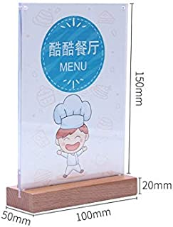 Glass figurines Picture Frame - New Wood Photo Frame A6 Magnetic Acrylic Cover Desk Sign Holder Table Menu Card Holder Price Tag Display Office Signboard Stand