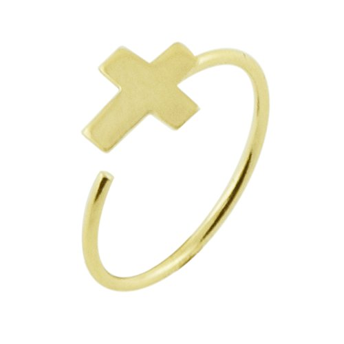 14K Geel Goud 22 Gauge - 8MM Diameter Platte Cross Open Hoop Neus Ring Neuspiercing