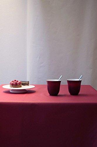 Fleur de soleil ~ Nappe Unis Rouge Coton Enduit 160x300