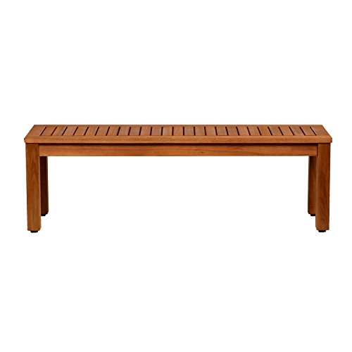 Amazonia Aster Backless Patio Bench | Eucalyptus Wood | Ideal for Outdoors and Indoors, 53
