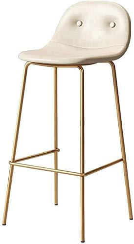 WWWWWWW-DENG barkruk, hoogte van de stang, retrostoelen met goudkleurige poten en voetplaat, ideaal voor keuken, bistro, café, pub, boerenkruk, kleur: bruin