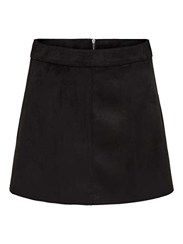 ONLY Damen ONLLINEA Faux Suede Bonded Skirt CC OTW Rock, Black, 38