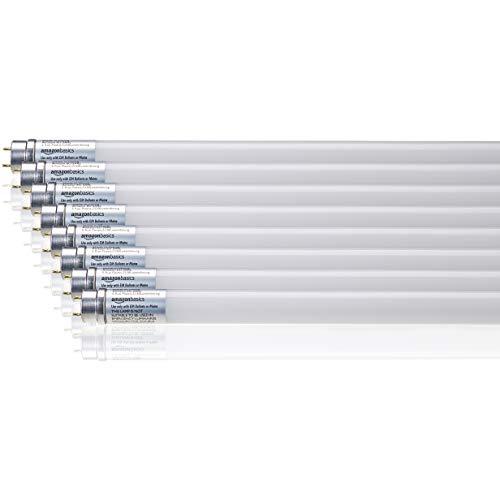 Amazon Basics Professional - LED-Leuchtmittel, T8-Röhre, 600 mm, 800 lm, 8 W (entspricht 18-W-Birne), Kaltweiß, 6.500 K, G13, 8er-Pack