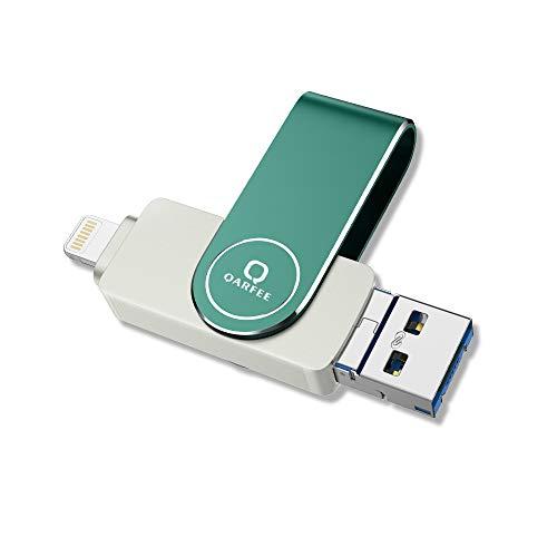 Qarfee 128GB USB Stick für iPhone 4 in 1 USB Speicherstick 3.0 Memory Stick Kompatibel mit iPhone 12/11/X/XS/XR/5/6/7/8 iPad Android Type C PC Externer Flash Drive Speichererweiterung - Green