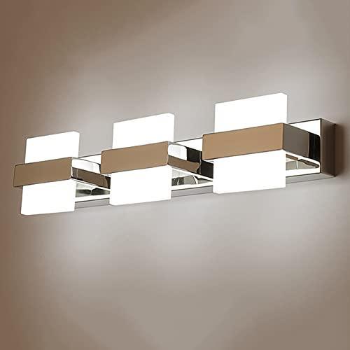 LED 3 Heads Bathroom Light Bathroom Neutral White 4000K Mirror Light, Stainless Steel Acrylic Wall Light, IP44 Waterproof Anti Fog No Flicker Make-Up Light Mirror Lamp