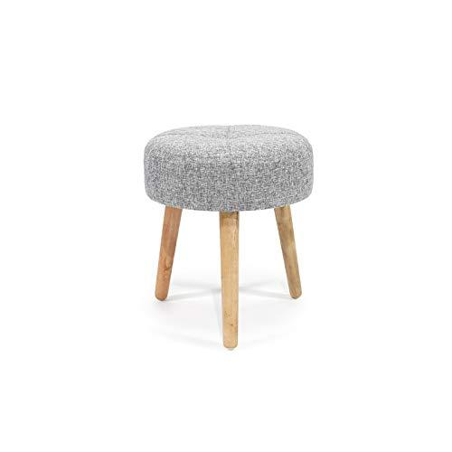 Puf redondo vestiamo casa taburete de madera con cómodo asiento, ideal para cocina y oficina, tamaño 39 x 43 cm, color gris