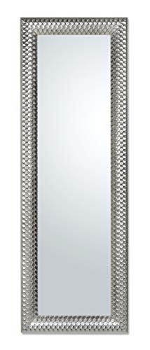 MO.WA Specchio da Parete Cornice in Legno Argento Misura Esterna cm. 50x145, Verticale Orizzontale. Realizzabile su Misura. Made in Italy.