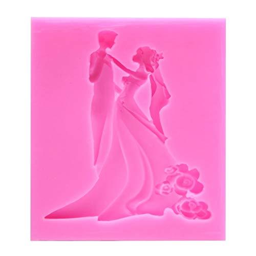 HUIZHANG Braut Bräutigam Tanz Fondant Silikon Formen Kuchen Dekorieren Werkzeug Schokolade Hochzeit Design Form Harz Formen