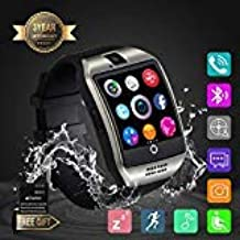 Smart Watch, Smartwatch Sweatproof Cell Phone SIM 2G GSM with Camera Support Sleep Monitor Push Message Anti Lost for Android HTC Sony Samsung LG Google and iPhone Smartphones (Q18 Silver)