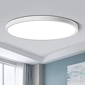 LED Flush Mount Ceiling Light Fixture, Daylight White 5000K, 12 Inch 24W(240W Equivalent), 3200LM, 0.94 Inch Thick Modern Ceiling Lamp, Round Ceiling Lighting for Bedroom Closet Hallway Kitchen
