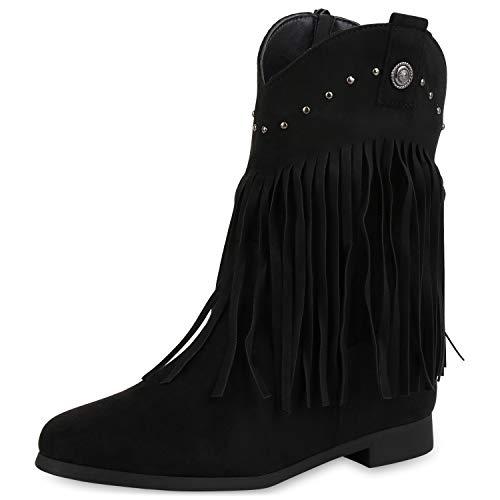 SCARPE VITA Damen Western Stiefeletten Cowboy Boots Leicht Gefütterte Stiefel Westernstiefel Fransen Schuhe Cowboystiefel Nieten 185611 Schwarz 36