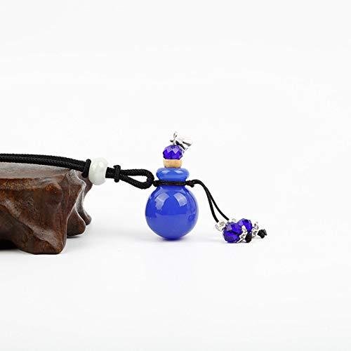RTYGH Collar de Botella de Aceite Esencial de Vidrio de aromaterapia, Azul Marino, Estilo étnico Hecho a Mano, Accesorios de Collar de aromaterapia para Damas Creativas, Azul Oscuro