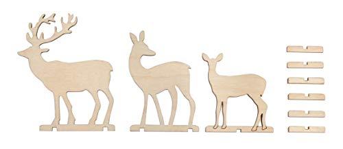 Rayher 62897505 Holz-Steckt.Rehe und Hirsch,FSCMixCred, Natur, 2xReh/1xHirsch, 6,5-9,5cm, SB-Btl 3Stück