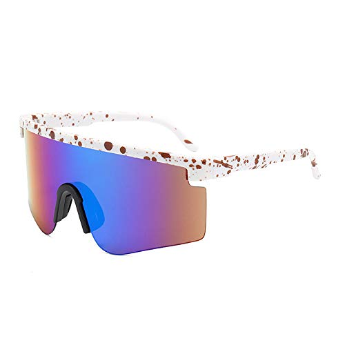 Gafas De Sol Polarizadas para Hombres Lente Azul De Moda Ligera, Puntos Rojos, Blanco, Medio Marco, Gafas De Sol, Gafas De Ciclismo para Exteriores, Deportes, Conducción, Ciclismo, Gafas, G