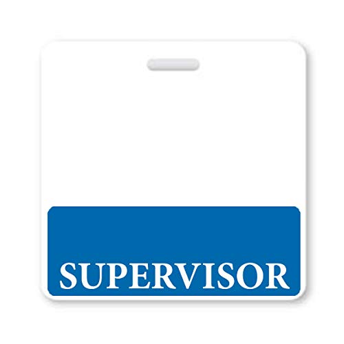 Supervisor Badge Buddy - Heavy Duty Horizontal Badge Buddies for Supervisors - Spill & Tear Proof Cards - 2 Sided USA Printed Quick Role Identifier ID Tag Backer by Specialist ID (1, Blue)