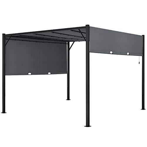 ArtLife Pavillon Cavo 3 × 3 m grau – Pergola mit LED Beleuchtung & Flachdach – Sonnenschutz Garten Terrasse – Terrassenüberdachung Stahl-Gestell