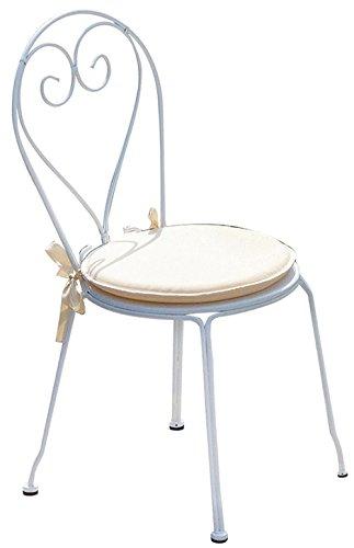 PEGANE Chaise Jardin en Fer forgé Coloris Blanc - Dim : H 90 x L 42 x P 52 cm. A Usage Professionnel