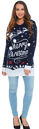 Momo&Ayat Fashions Ladies Twin Reindeer & Reindeer Sleigh Merry Christmas Tunic Jumper UK Size 8-14 (Reindeer Sleigh -Navy, S/M (UK 8-10))